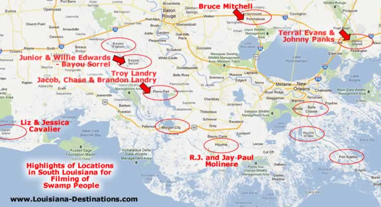 Map of Swamp People Filming Locations in South Louisiana - Pierre Part, Pecan Island,  Bayou Sorrel, Bayou Conway, Ponchatoula, Houma