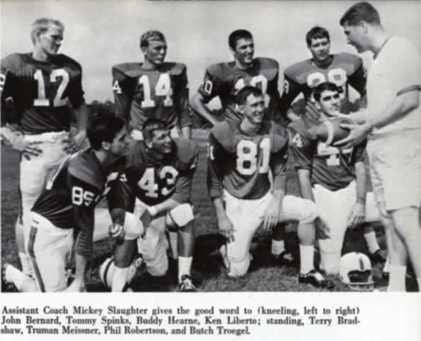 "Photo of Louisiana Tech quarterbacks Phil Robertson and Terry Bradshaw from the 1968 Louisiana Tech ""Lagniappe"" yearbook"