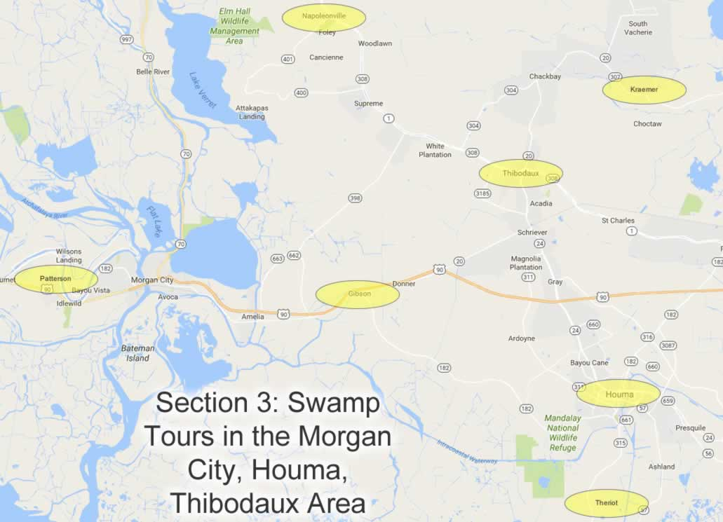 Map showing locations of swamp tours near Houma, Thibodaux and Morgan City in Louisiana