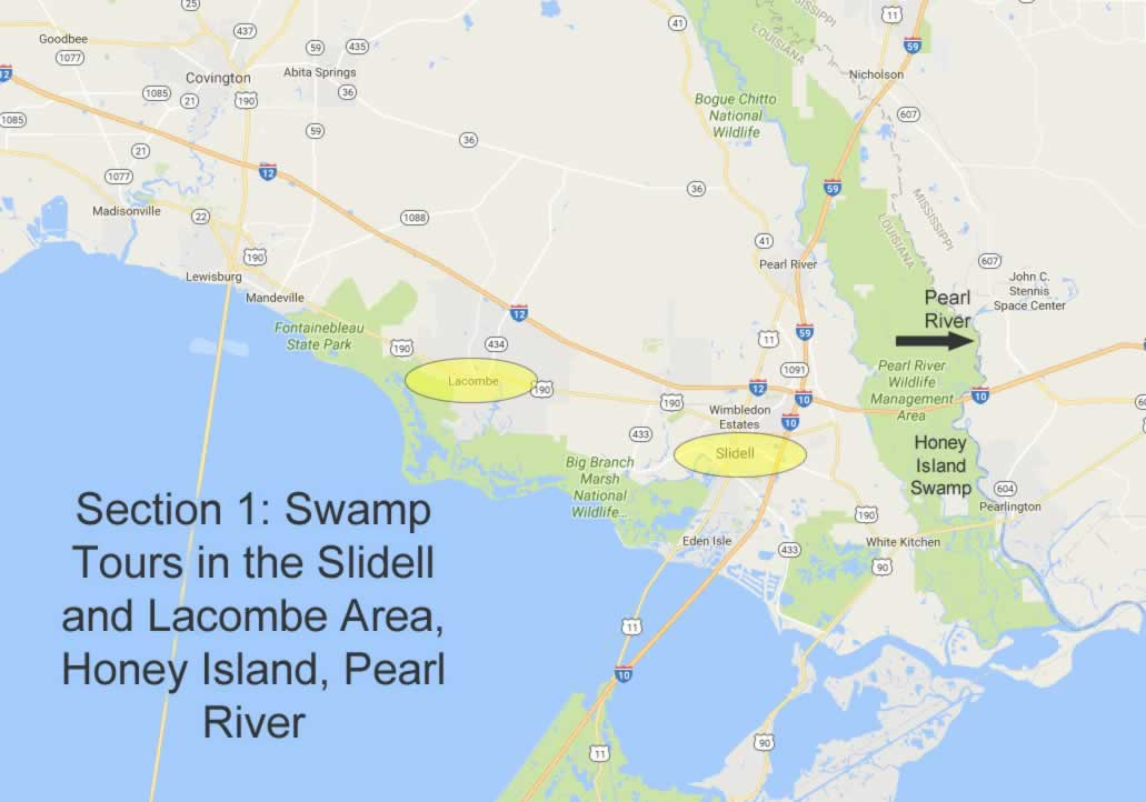 Map showing locations of swamp tours near Slidell, Honey Island and the Pearl River in Louisiana