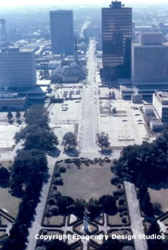 Downtown Baton Rouge, seen from the Louisiana State Capitol, circa 1970s
