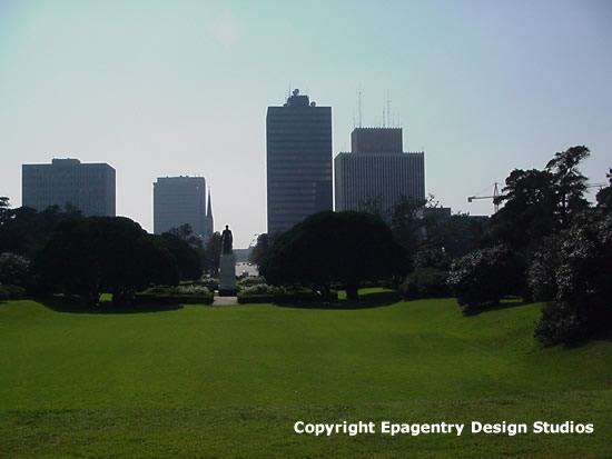 Downtown Baton Rouge seen from the grounds of the Louisiana State Capitol, circa 2000