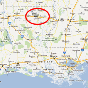 Map showing location of Monroe and West Monroe in Louisiana (courtesy of Google Maps)