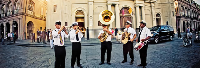 Musical interlude in front of St. Louis Cathedral in the New Orleans French Quarter