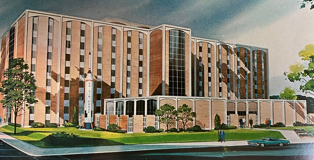 Architect's drawing of the new 8-story men's dormitory at Louisiana Polytechnic Institute in Ruston, Louisiana (circa 1966). Later named Caruthers Hall.