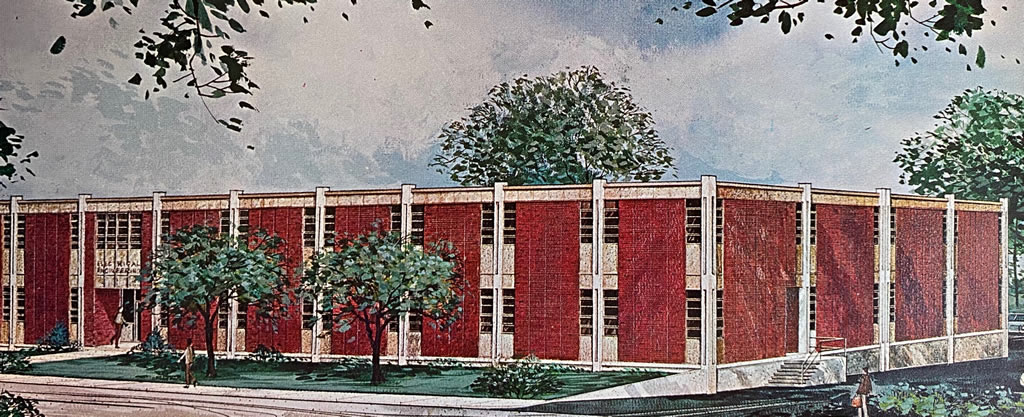 Architect's drawing of the new Engineering Laboratory Building at Louisiana Polytechnic Institute in Ruston, Louisiana (circa 1965)