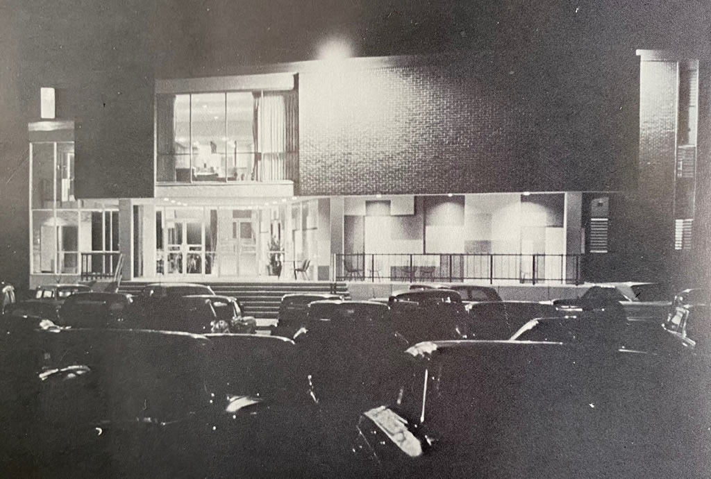 Hutcheson Hall men's dormitory, built in 1964, seen here at night, during study hours, at Louisiana Polytechnic Institute in Ruston, Louisiana (circa 1969). It housed 400 male students.