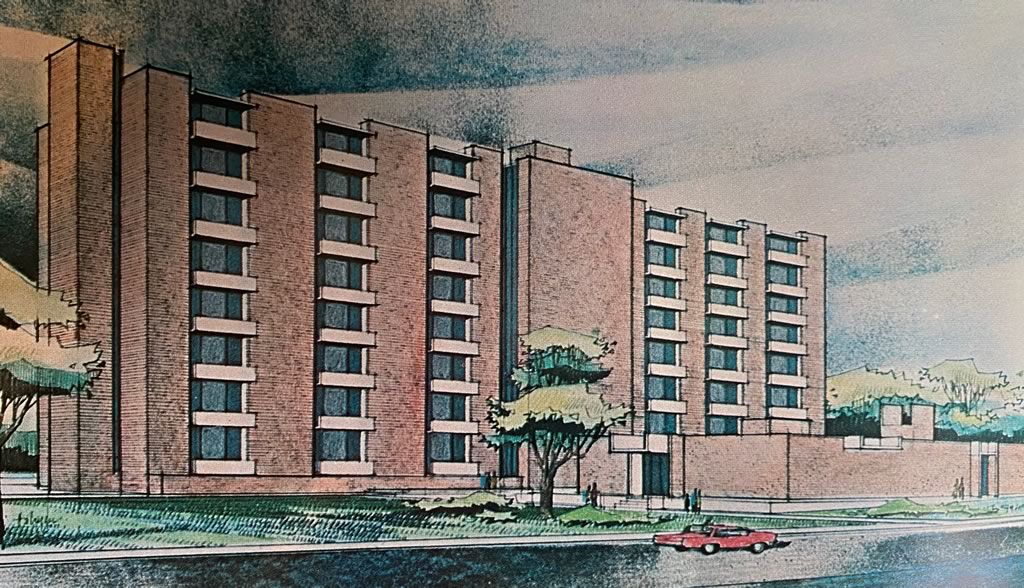 Architect's drawing of the new 8-story women's dormitory at Louisiana Polytechnic Institute in Ruston, Louisiana (circa 1966). Later named Kidd Hall.