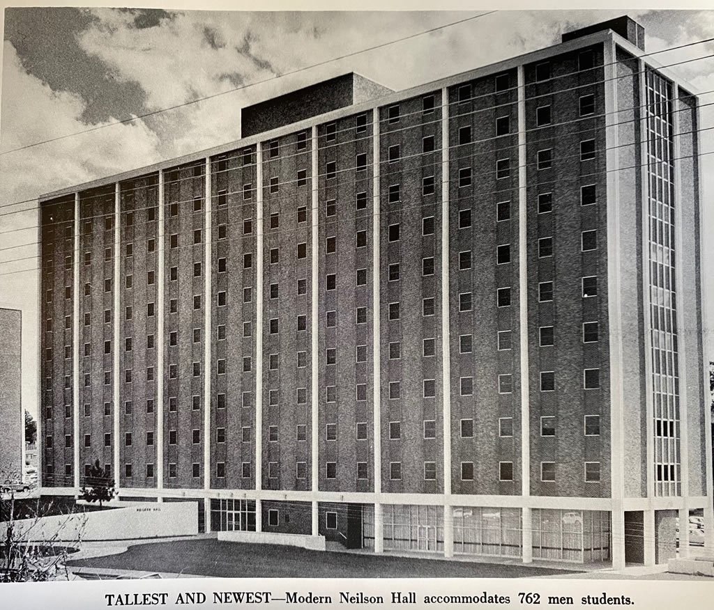 Architect's drawing of the new 11-story men's dormitory at Louisiana Polytechnic Institute in Ruston, Louisiana (circa 1969). Later named Neilson Hall.