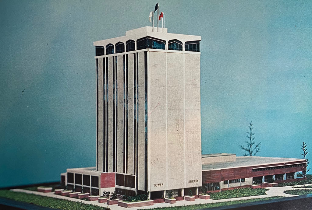 Architect's drawing of the proposed 16-story Tower of Learning at Louisiana Polytechnic Institute in Ruston, Louisiana (circa 1969).