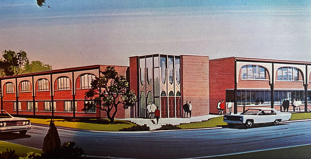 Architect's drawing of the new School of Business Administration Building at Louisiana Polytechnic Institute in Ruston, Louisiana (circa 1965)