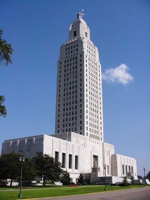 The Louisiana State Capitol, view from the southwest