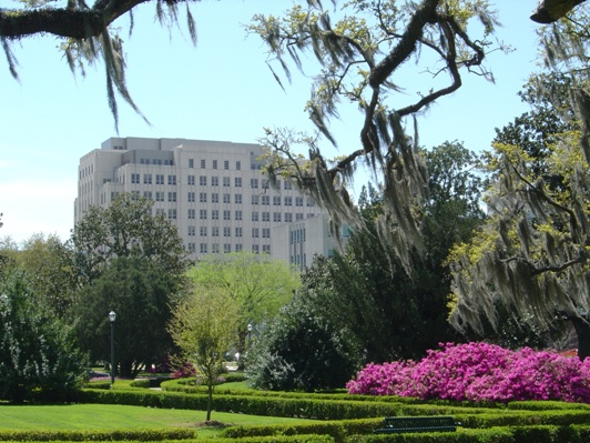 The Louisiana State Capitol Grounds, looking towards the south and the LaSalle Building
