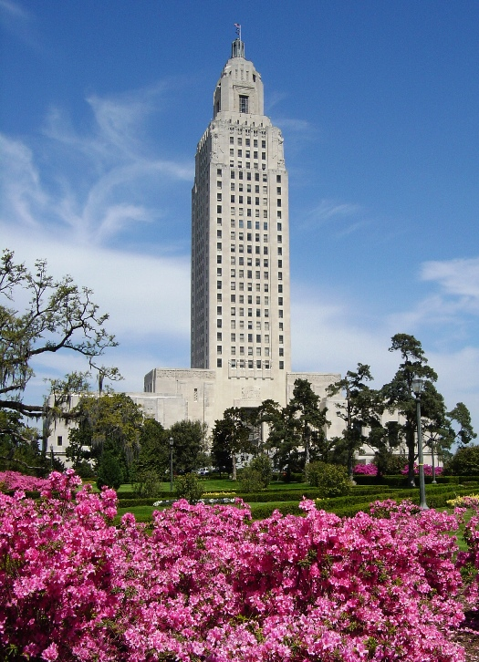 The towering Louisiana State Capitol Building in Baton Rouge