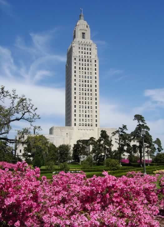 The Louisiana State Capitol as seen in the spring of 2005 with azaleas in full bloom
