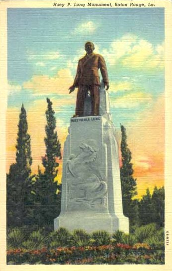 Historic postcard showing the Huey P. Long memorial, Louisiana State Capitol Grounds, Baton Rouge
