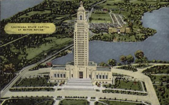 The Louisiana State Capitol (circa 1939) with Capitol Lake and Our Lady of the Lake Hospital in the distance
