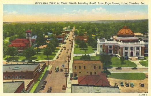 Bird's Eye view of Ryan Street, Looking South from Pujo Street, Lake Charles, Louisiana