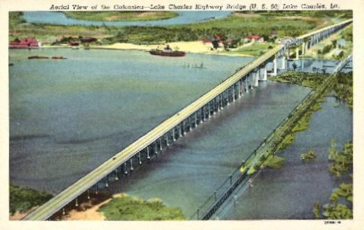 Aerial view of the Calcasieu - Lake Charles highway bridge, U.S. 90 and I-10