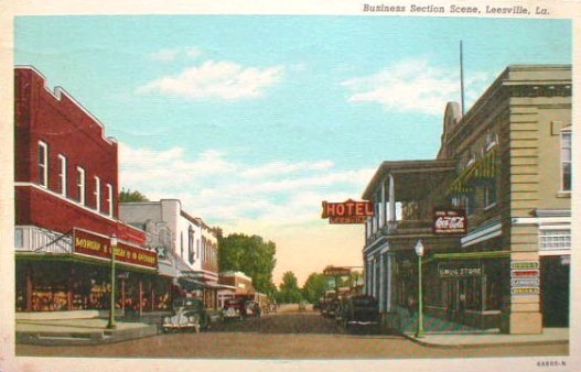Business Section, Leesville, Louisiana ... Circa late 1930s or early 1940s