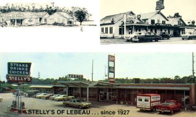 Stelly's of LeBeau, Louisiana ... since 1927 ... serving steaks, drinks and chicken, and Texaco gasoline