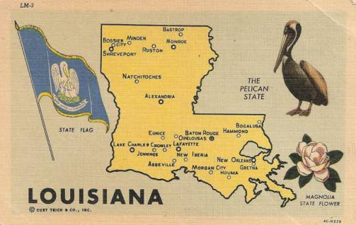 Map of the state of Louisiana showing major cities and towns