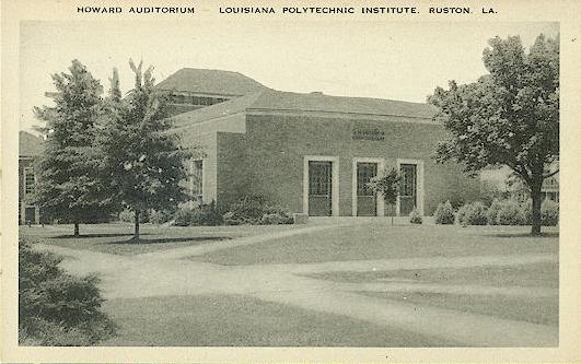 Black and white image of Howard Auditorium, Louisiana Polytechnic Institute, Ruston, Louisiana