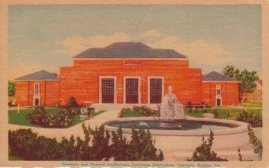 Early image of Howard Auditorium and Our Lady of the Mist at Louisiana Polytechnic Institute, Ruston, Louisiana